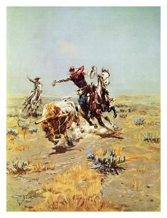 Horses (Fine Art) Photos at AllPosters.com Cowboy Roping a Steer Art Print - 13 x 17 in Charles Marion Russell