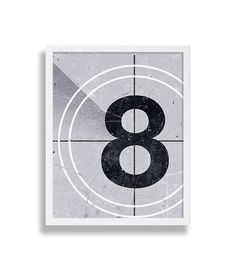 Industrial Art Print Vintage Film Reel Count Down Print - No 8, great for a…