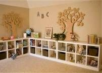 cubby shelves for one wall in the kids playroom/office--love it! totally going to do this! Furniture Plans, Diy Furniture, Furniture Design, Bedroom Furniture, Homemade Furniture, Office Furniture, Cubby Shelves, Shelving Units, Low Shelves