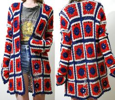 GRANNY SQUARE Cardigan CROCHET Jacket Wool Cardigan by cruxandcrow