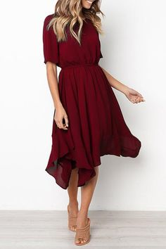 Round Neck Short Sleeve Elastic Waist Asymmetrical Hem Casual Dresses – petalprim Source by Dresses Dresses Elegant, Fall Dresses, Sexy Dresses, Summer Dresses, Midi Dresses, Formal Dresses, Modest Dresses Casual, Casual Dresses With Sleeves, Short Dresses