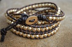 Leather Bead Wrap Bracelet Brown with Gold by StringofLove on Etsy, $38.00