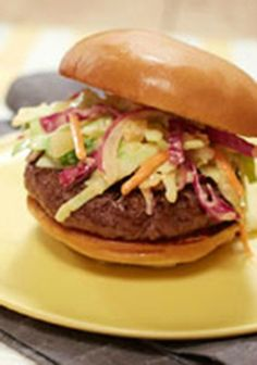 MIRACLE WHIP Slaw Burgers -- Spice up your weeknight dinner routine with this burger recipe--ready to enjoy in just 30 minutes total!