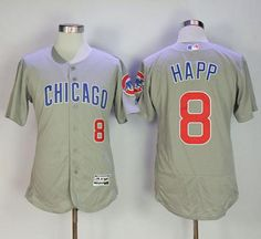 a95d47e7f Cubs  8 Ian Happ Grey Flexbase Authentic Collection Road Stitched MLB Jersey