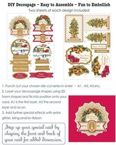 Christmas Tree Decoupage Makes 8 3D Decoupage cards. 4 8.25 12 sheets of 2 designs accented in bright metallic gold. $4.00