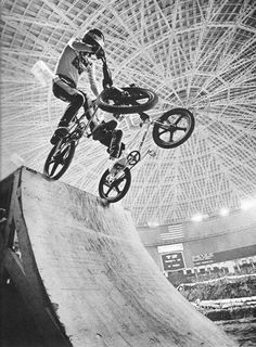 Early 80's BMX freestyle. R.L. and Mike Buff Astro Dome Houston TX