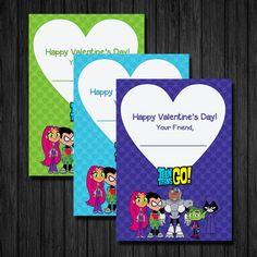 Valentine's Day Cards, Teen Titans, Teen Titans Go, Printable, DIY