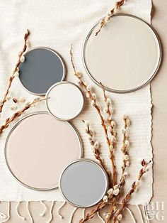 Neutral Paint Colors - from top right - Haven of Coziness N-C1 Clark + Kensington, Grey Stone UL15 Ralph Lauren, Gravelstone MQ2-50 Behr, Full Moon 29-31 Pratt & Lambert, Grizzle Gray 7068 Sherwin Williams