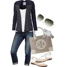 Waterfall Cardi and Tory Burch Purse