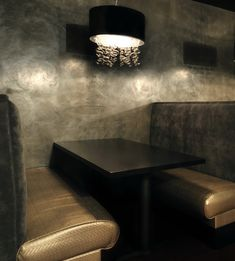 Grey Marmorino with silver mica wax. Venetian plaster wall finish.