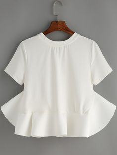 Online shopping for White Crew Neck Ruffle Crop Blouse from a great selection of women's fashion clothing & more at MakeMeChic.COM.