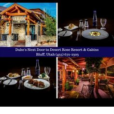"""""""Affordable Luxury"""" in Bluff, Utah Dukes Restaurant, Next Door, Fine Dining, Utah, Cabin, Meals, Table Decorations, Power Supply Meals, Meal"""