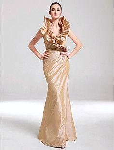 Trumpet/Mermaid V-neck Floor-length Taffeta Evening Dress – EUR € 123.74