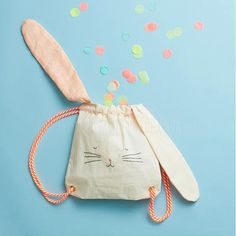 Storage . Small Bag/ Drawstring Backpack - Bunny