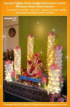 Ashwini Manjure Page on Ganpati.TV where all Ganpati festival decoration pictures and videos are shared. Flower Decoration For Ganpati, Eco Friendly Ganpati Decoration, Ganpati Decoration Design, Housewarming Decorations, Diy Party Decorations, Festival Decorations, Flower Decorations, Diwali Decoration Lights, Ganesh Chaturthi Decoration