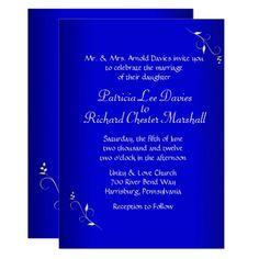 Cobalt Blue Evening Wedding Invitation - wedding invitations diy cyo special idea personalize card