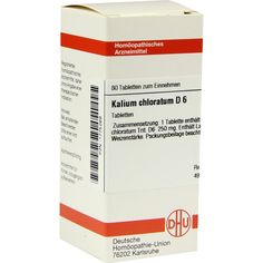 KALIUM CHLORATUM D 6 Tabletten:   Packungsinhalt: 80 St Tabletten PZN: 01775269 Hersteller: DHU-Arzneimittel GmbH & Co. KG Preis: 5,95…