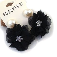 21 brand ShanZuan cloth flower pearl earring $10