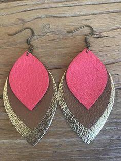 Large Three Leaf Leather Earrings