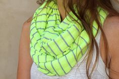 Striped Infinity Scarf, Neon Accessory, Neon Circle Scarf, Eternity Scarf. $30.00, via Etsy.