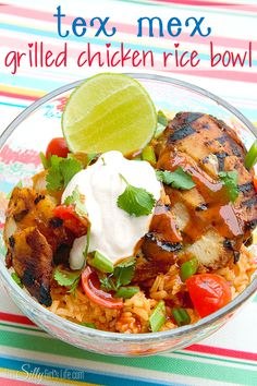 Tex Mex Grilled Chicken Rice Bowl - This Silly Girl's Life #skipthehouseworkparty