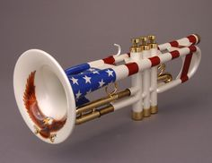 The Custom Shop Uncle Sam Trumpet by Andy Taylor, Norwich 1996, with stars and stipes finish and an American eagle inside the bell