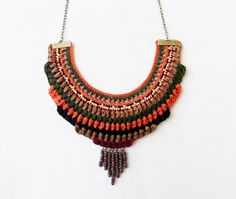 Crochet bib necklace, colorful statement necklace, handmade textile jewelry, whimsical fibewr necklace, ethnic tribal necklace