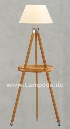 Stehlampe Holz Tripod Lamp, Designer, Lighting, Home Decor, Silver Ash, Red Wine, Natural Colors, Spot Lights, Stainless Steel