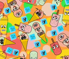Kool Kawaii Ditsy fabric by shojo_sandee on Spoonflower - custom fabric