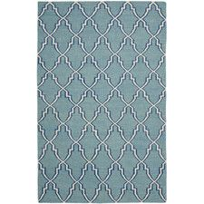 Handgefertigter Teppich Jadida Dhurrie in Hellblau/ Elfenbein