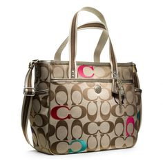 Coach :: Baby Bag Embroidered Signature c Tote Neutral if you don't want to know.