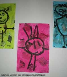 kinder portraits-collage, wash with water colour or edicol dye, Paint or draw with permanent marker when dry