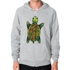 Painted Watercolor Turtle Zip Hoodie (on man)