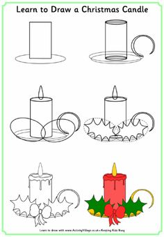Easy Drawings Learn to draw a Christmas candle Cute Easy Drawings, Art Drawings For Kids, Doodle Drawings, Drawing For Kids, Doodle Art, Art For Kids, Christmas Pictures To Draw, Easy Christmas Drawings, Christmas Doodles