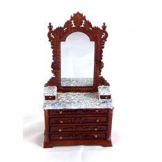 Seconds Dolls House Fine Miniature Bedroom Furniture Ri Mauldie Walnut Dressing…