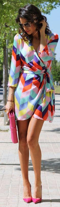 Imperial Multicolor Chiffon Geometric Print Dress by Farabian