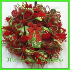 Christmas Deco Mesh Wreath by CreationsbyMsConnie on Etsy, $70.00