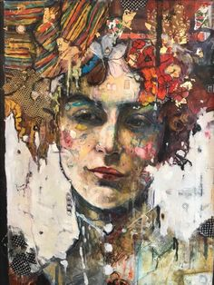 One of a series of mixed media portraits based loosely on Victorian photos. This was made with oils, acrylics, inks, vintage fabrics and lace, gold leaf and found objects. Comes signed on the fr...