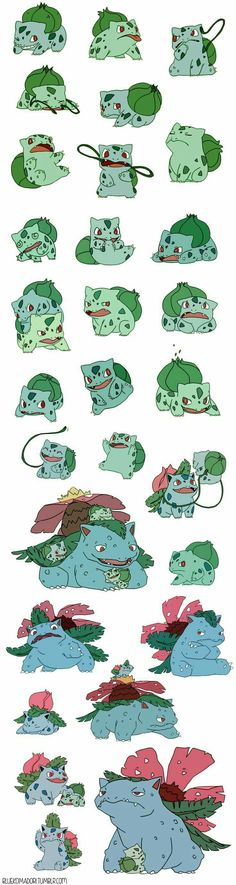 Bulbasaur, Ivysaur, Venusaur, cute, evolution; Pokémon