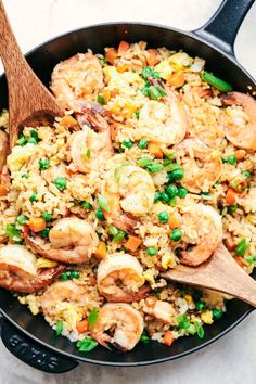 Easy Shrimp Fried Rice-Do you ever possess leftover rice in the fridge? The best way to utilize it up is to create fried rice! Fried rice is most effective with chilled left. Shrimp Recipes For Dinner, Shrimp Recipes Easy, Fish Recipes, Seafood Recipes, Asian Recipes, Beef Recipes, Chicken Recipes, Cooking Recipes, Healthy Recipes