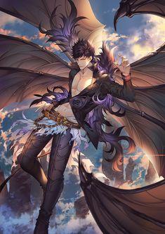 """【グランブルーファンタジー】""""One Fallen Angel"""" / Illustration by """"Darkavey"""" [pixiv] Demon Manga, Anime Demon Boy, Anime Devil, Dark Anime Guys, Cool Anime Guys, Hot Anime Boy, Anime Male, Anime Art Fantasy, Fantasy Male"""