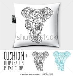 Design vector pillow (cushion).Isolated pillow with illustration Cute decorative Elephant in two colors.