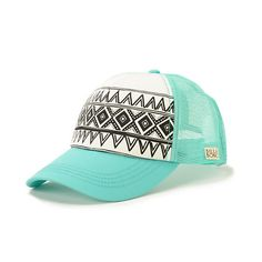 Billabong I Heard Mint Tribal Print Trucker Hat from Zumiez. Cowgirl Hats, Cowgirl Style, Golf Attire, Golf Outfit, Cute Hats, Country Outfits, Tribal Prints, Billabong, Fashion Accessories