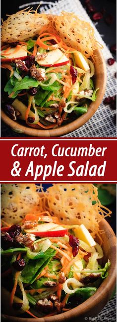 Carrot, Apple and Cucumber Salad - Amazing carrot, cucumber and apple salad with candied pecans and asiago crisps, all drizzled with a red wine vinaigrette.