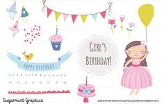 Birthday Girl Clip Art Dark-Haired by SugarMintGraphics on Creative Market