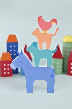 Printable Bremen Town Musicians Stackers for Fun & Games with Storytelling Diy Craft Projects, Projects For Kids, Diy For Kids, Crafts For Kids, Diy Crafts, Printable Animals, Printable Crafts, Printables, Paper Toys