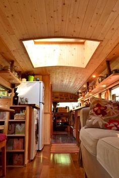 Tell us a bit about the way in which the idea to create a bus into a house on wheels came about. You should be mindful that you're residing in a bus and will want to park in weird areas sometimes. The perfect bus isn't going to amazingly appear before … Bus Living, Tiny House Living, School Bus House, School Buses, Converted School Bus, Bus Interior, Interior Ideas, School Bus Conversion, Camper Conversion