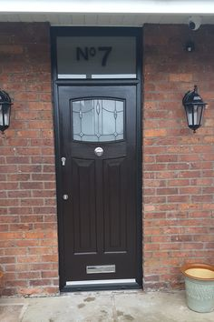 Another Black Newark! Fitted with Lantern glass and centre knob and finished with an etched fan light. Composite Door, Front Doors, Stables, Knob, Locker Storage, Lanterns, Centre, Home Improvement, New Homes