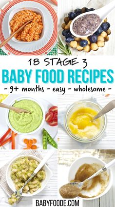 These 18 Stage 3 Baby Food Recipes are easy to make, delicious for baby to eat and completely homemade! They are combination purees with soft chunks that will get baby ready for the next stage – finger foods. Great for babies 9-12 months. Baby Puree Recipes, Pureed Food Recipes, Apple Recipes, Baby Food Recipes, Carrot Pasta, Veggie Pasta, Roasted Pear, Roasted Carrots, Oatmeal For Baby