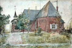 """Carl Larsson - 1895, Old Sundborn Church (from """"A Home"""" series) watercolour 32 x 43 cm Nationalmuseum, Stockholm. (****See Pin showing just front part of house.)"""